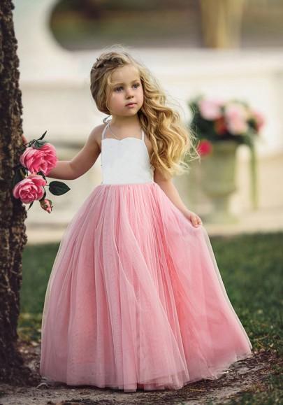 Robe maxi grenade drapé dos nu taille haute papa fille danse mignonne rose-blanc