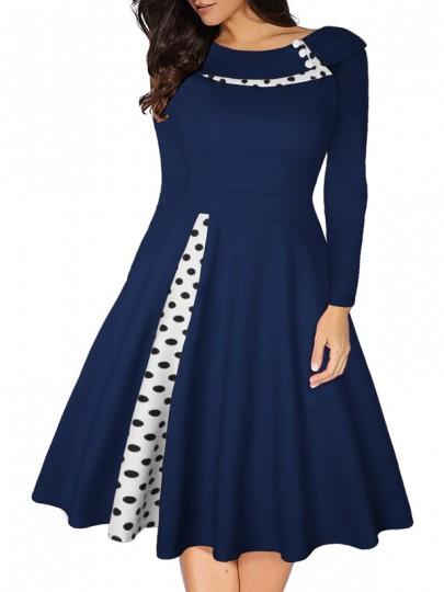 Midi-robe pois col turban plissé tutu hepburn cru party bleu
