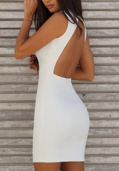 Mini robe fermeture éclair dédécoupesv-col mode blanc