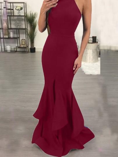 Burgundy Ruffle Slit Mermaid Halter Neck Bodycon Off Shoulder Banquet Elegant Prom Maxi Dress