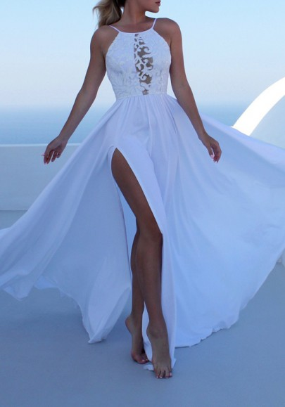 White Lace Draped Side Slit Spaghetti Strap Backless Flowy Bohemian Party Maxi Dress