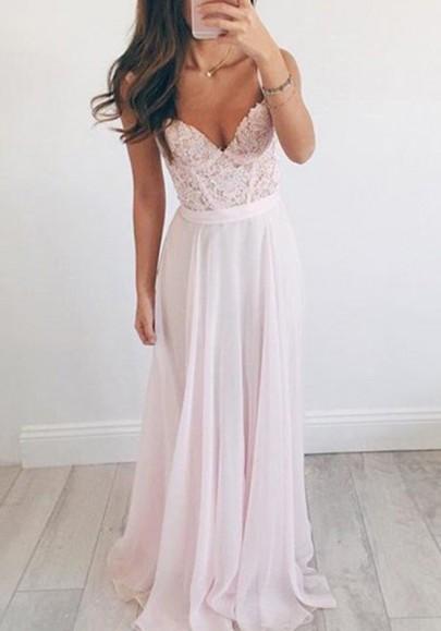 Robe longue avec dentelle drapé bretelle v-cou élégant bal de soirée rose