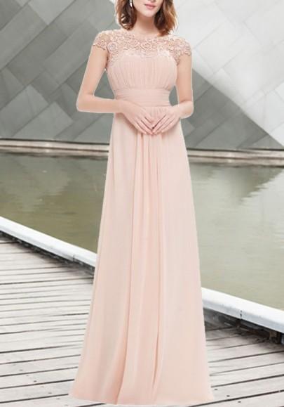 Maxi dress elegante balletto in chiffona drappeggiato con drappeggio di pizzo rosa