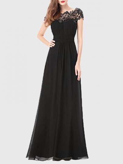 93c2b6a742f0 Black Patchwork Lace Cut Out Backless Draped Elegant Chiffon Prom Maxi Dress  - Maxi Dresses - Dresses