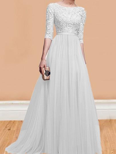 huge discount d6e08 87747 Maxi vestito pizzo pieghettato girocollo gomiti da sposa manica gomito  bianco