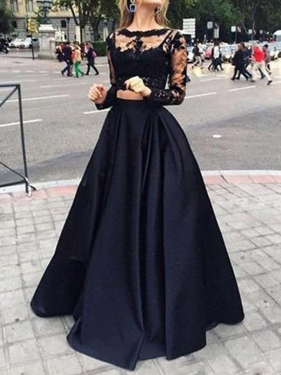 Schwarz Spitze Rundhals Langarm Zweiteiler Kleid Hochzeits Party Maxikleid Ballkleid Abendkleid