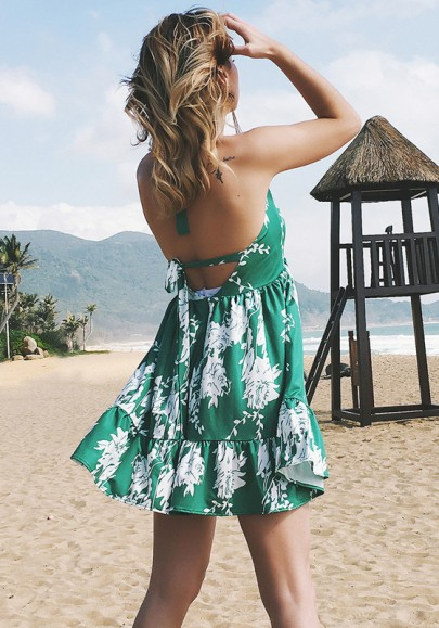 Green Draped Shoulder-Strap Lace-up Backless Bohemian Sweet Mini Dress