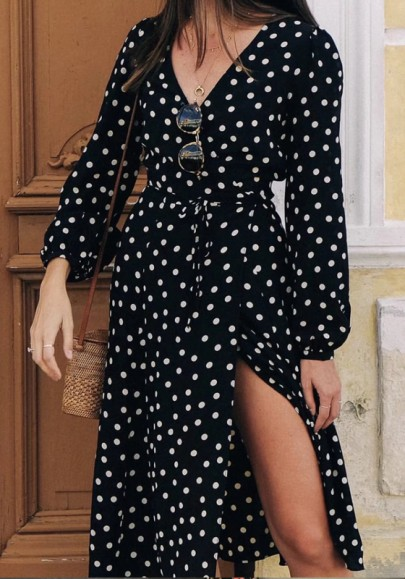 Black Polka Dot Cut Out Side Slits V-neck Long Sleeve Going out Midi Dress