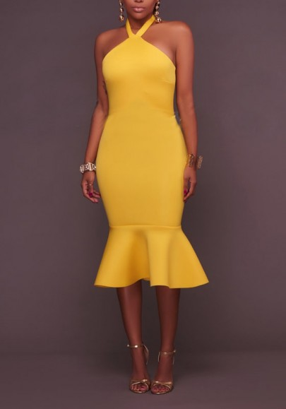 Yellow Buttons Ruffle Halter Neck Backless Bodycon Elegant Party Midi Dress
