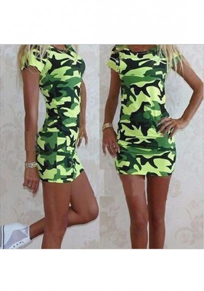Mini-robe camouflage col rond manches courtes style militaire t-shirt vert