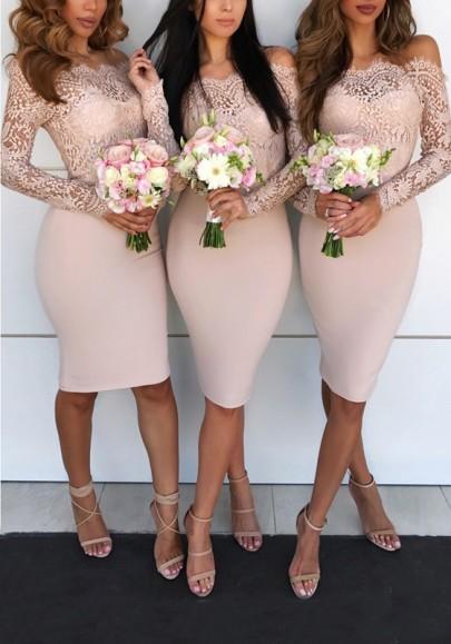 Mi-longue robe avec dentelle col bateau manches longues moulante élégant demoiselles d'honneur rose