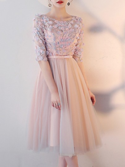 Pink Patchwork Lace Grenadine Pleated Ruffle Tie Back Elbow Sleeve Homecoming Party Midi Dress