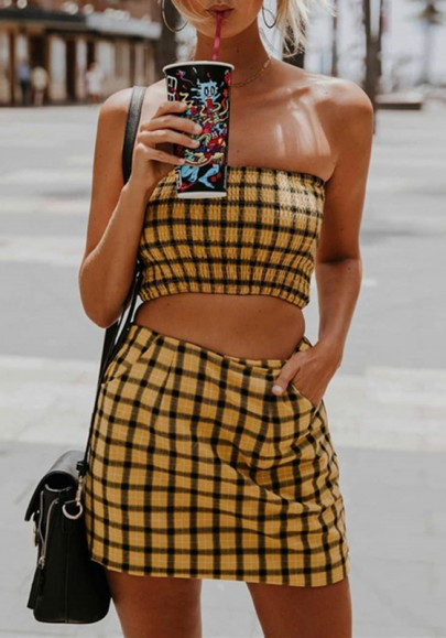 Yellow Plaid Pockets Off Shoulder Two Piece Going out Mini Dress