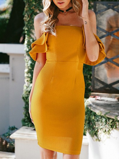 Yellow Ruffle Off Shoulder Backless Bodycon Bridesmaid Homecoming Party Mini Dress