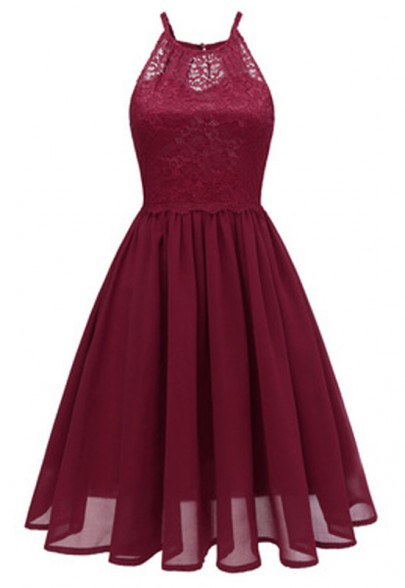 Burgundy Cut Out Lace Pleated Backless Chiffon Party Midi Dress