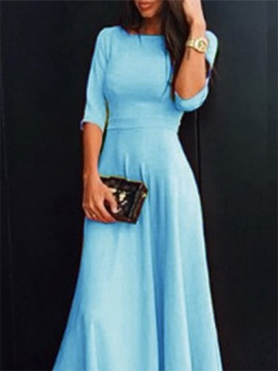 Light Blue Pleated Draped Round Neck Three Quarter Length Sleeve Elegant Prom Bridesmaid Maxi Dress