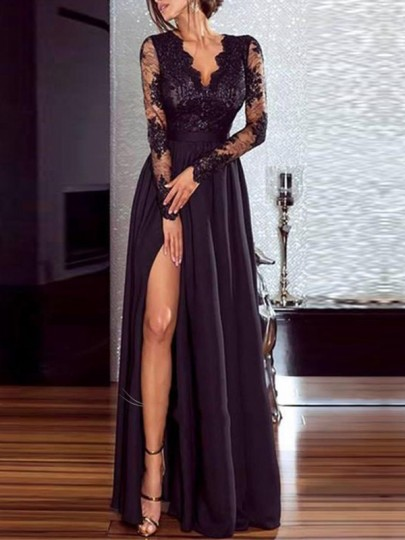 Black Lace Draped Side Slit V-neck Flowy High Waisted Elegant Party Maxi Dress