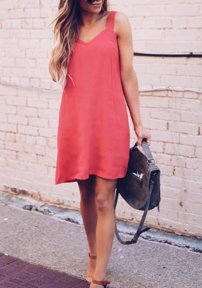 Mini vestido cuello condole v-cuello sin mangas moda rosa