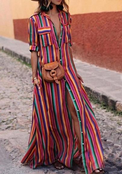 Rotes Gestreifte Einreiher Schlitz Taschen Bohemian Maxikleid Sommerkleid Hemdkleid