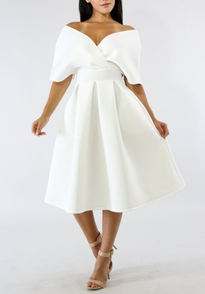White Pleated Off Shoulder Backless High Waisted Banquet Formal Party Church Midi Dress