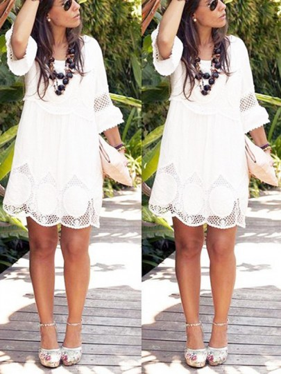 White Lace Cut Out 3/4 Sleeve Plus Size Boho Graduation Homecoming Party Sweet Mini Dress