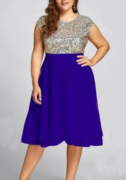 Blue Sequin Patchwork Cascading Ruffle Glitter Plus Size High Waisted Elegant Party Midi Dress