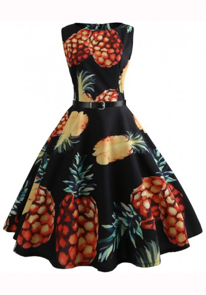 Black Floral Print Round Neck Sleeveless Midi Dress