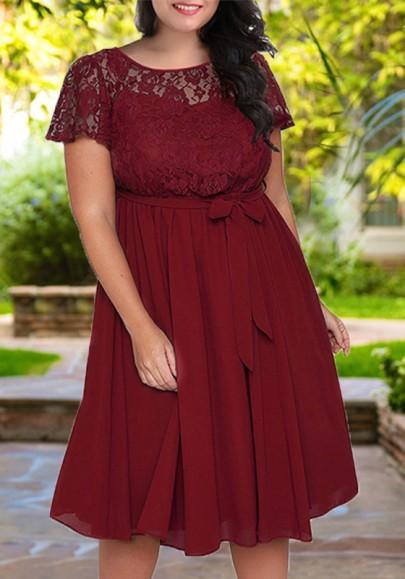 Burgundy Lace Sashes Pleated Plus Size Flowy High Waisted Elegant Party Midi Dress