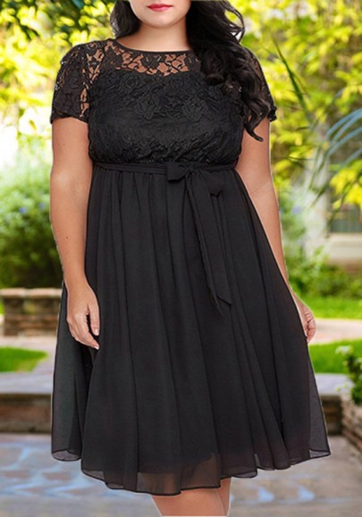 e1a11618e4 Black Lace Sashes Pleated Plus Size Flowy High Waisted Elegant Party Midi  Dress