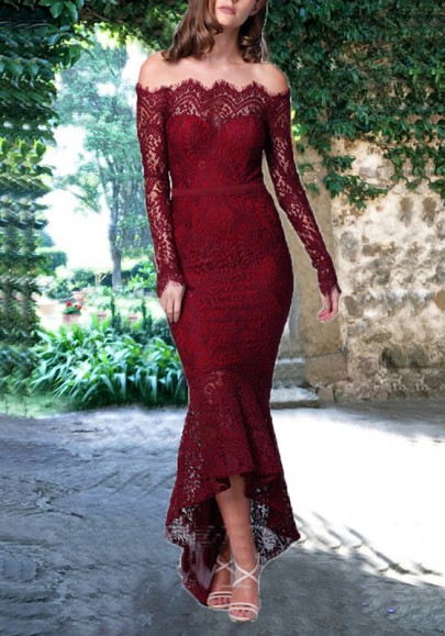 Burgundy Lace Off Shoulder Backless Mermaid Bodycon Elegant Party Maxi Dress