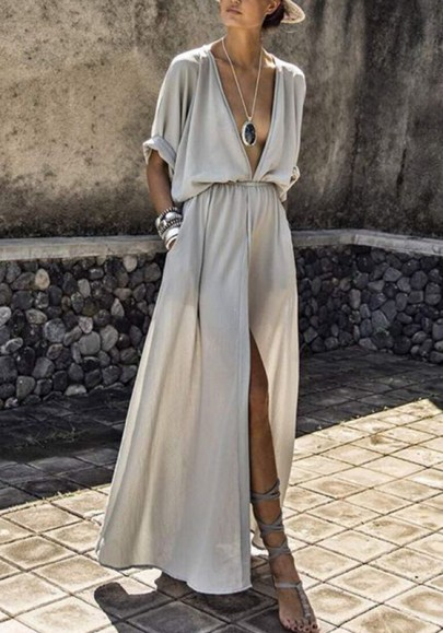 Grey Pockets Draped Drawstring Side Slit Deep V-neck Flowy Bohemian Party Maxi Dress