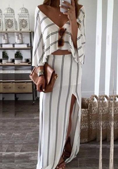 Weiß-Schwarz gestreiften drapierten Seitenschlitz tiefem V-Ausschnitt zweiteilige Strandwear Partei Maxi-Kleid