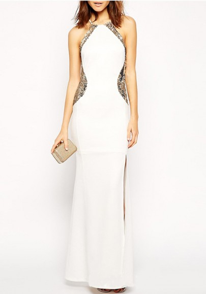 White Patchwork Sequin Side Slit Bodycon Banquet Elegant Party Maxi Dress