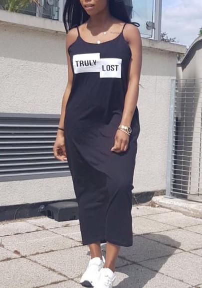 Schwarzes Monogrammm-Druck Taschen Spaghetti Bügel-Bügel U-Ansatz Beiläufiges Maxi Kleid
