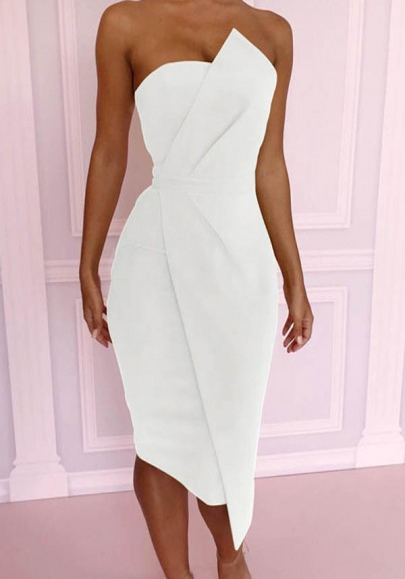 White Bandeau Zipper Irregular Off Shoulder Fashion Elegant Midi Dress