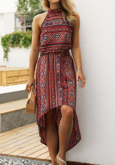 Red Floral Print Draped High-Low Halter Neck Off Shoulder Flowy Bohemian Beach Maxi Dress