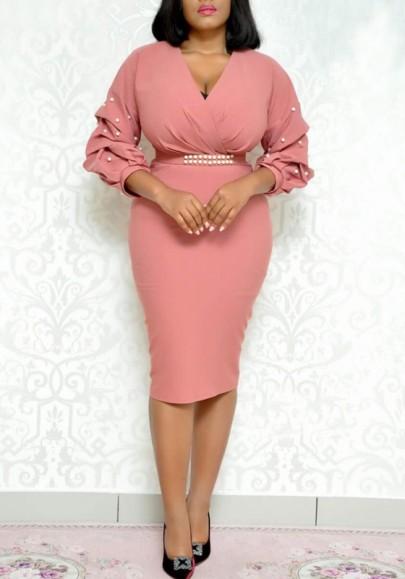 Vestido A media pierna perla mosaico con escote en V talle alto bodycon elegante fiesta de banquete rosa