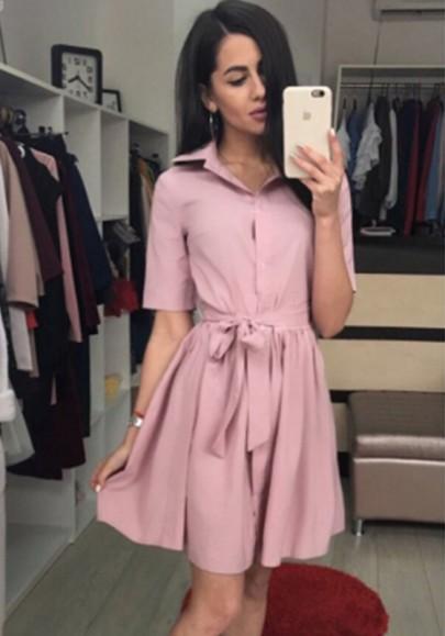 Pink Cut Out Turndown Collar V-neck Fashion Mini Dress