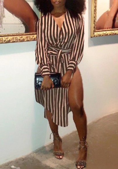 Brown Striped Sashes Irregular Double Slit Casual T-shirt Mini Dress