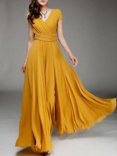 Mustard Yellow Ruched V-neck High Waisted Flowy Bohemian Bridesmaid Graduation Party Maxi Dress