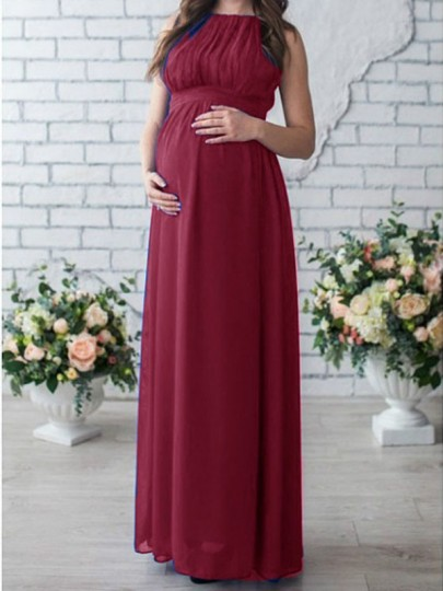 Burgundy Draped Ruched Maternity For Babyshower Elegant Party Maxi Dress