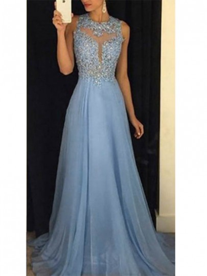Vestido largo lentejuelas adina drapeado banquete sin respaldo elegante fiesta de graduación azul cielo
