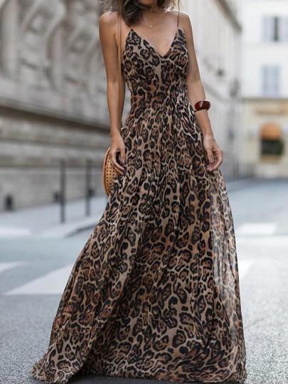 Robe maxi longue imprimé à léopard en mousseline fluide v-cou sans manches mode brun