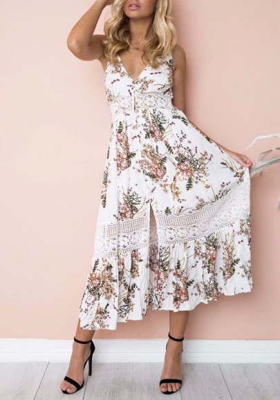 78e710878a21 White Floral Patchwork Lace Cut Out Spaghetti Strap Front Slit Falbala  Bohemian Sundress Maxi Dress