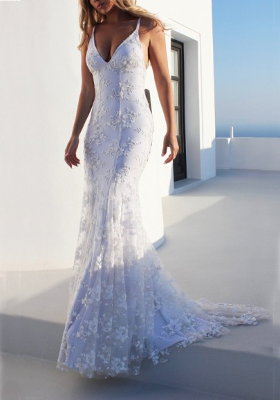 White Lace Spaghetti Strap Mermaid Lace-up Deep V-neck Elegant Graduation Party Maxi Dress