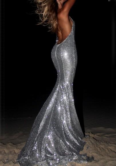 Vestido largo lentejuelas sirena sin espalda halter cuello brillo elegante fiesta de graduación plata