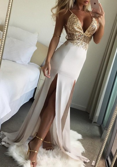 Golden Sequin Slit Spaghetti Strap Flowy Deep V-neck Elegant Graduation Party Maxi Dress
