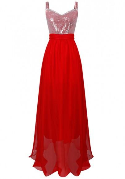 Robe maxi banquet drapé V cou à paillettes drapé mariage soirée formelle rouge