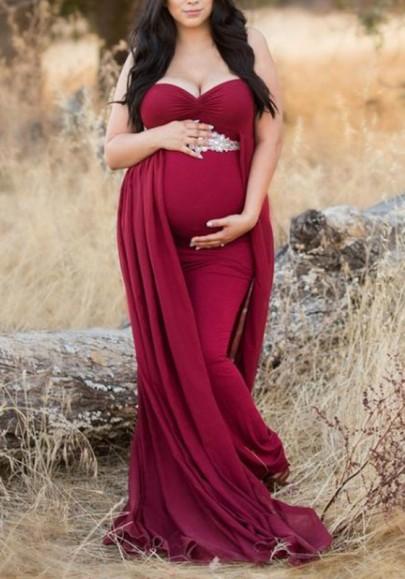 Burgundy Off Shoulder Cloak Maternity For Babyshower Flowy Elegant Party Maxi Dress