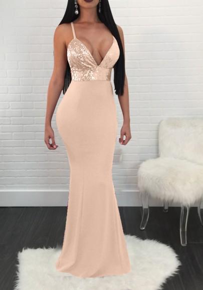 Golden Patchwork Sequin Spaghetti Strap Backless Deep V-neck Elegant Party Maxi Dress
